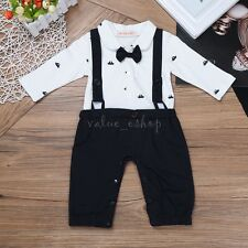 Toddler Baby Boys Kids Bowtie One-piece Gentleman Romper Jumpsuit Clothes Outfit