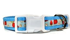 Dog Collar, Strawberry Collar, Blue Red White, Small Medium Dogs, Quick Release