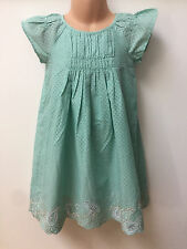 NEW Ex MARKS AND SPENCER KIDS GREEN SPOTTY DRESS FOR AGES 12 MONTHS-6 YEARS