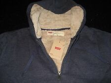 Levi's Hoodie Track Jacket Mens Faux Fur Sherpa Lined Long Sleeve M Blue NWT