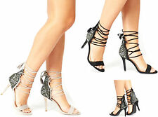 Ladies Womens High Heel Stiletto Lace Tie Up Sandals Peep Toe Ankle Cuff Size