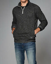 Abercrombie & Fitch Sweatshirt Mens Pullover Half Zip Pocket S L XL Charcoal NWT