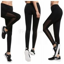 Women Girls Stretchy Yoga Pants Leggings Sports Running Workout Trousers+Pockets