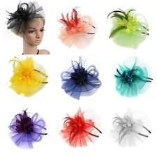 Lady Girl Fascinator Headband Veil Feather Hat Headwear Cocktail Party Costume