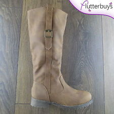 Ladies Brown Knee High Riding Boots Nubuck look faux fur lining womens size 3