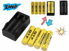 4X 18650 3.7V 9800mAh Rechargeable Li-ion Battery&Charger For Flashlight Lot GN#