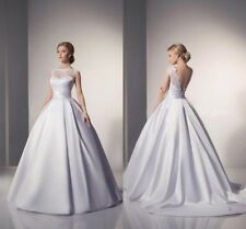 New White/Ivory Satin Wedding Dress Bridal Gown Ball Gown Bride Dress Size 2-16