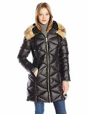 GUESS Jacket Womens Puffer Coat Long Quilted Panels Gold Details L Black NWT