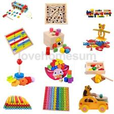 Kids Wooden Educational Math Block Number Car Stacking Toy Puzzle Preschool Toy