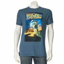 Back To The Future Men's Marty Mcfly Movie Poster Licensed T-Shirt Blue New