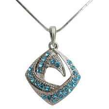 Jewelry Necklace Pendant Silver Metal Alloy Crystal US Free Shipping + Gift