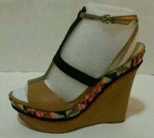 NEW! GUESS Women's Shoes, Diastol Platform Wedges Sandals Brown Multi Sz 8, 9.5