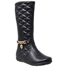 Kids Knee High Boots Quilted Leather Gold Train Trim Heart Charm Riding Shoes
