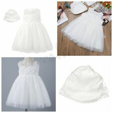 Infant Baby Newborn Girls Lace Flower Tulle Wedding Princess Dress With Bonnet