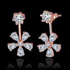 Luxury Zircon Drop Earrings Rose Gold Crystal Flower Dangle Earrings Jewelry
