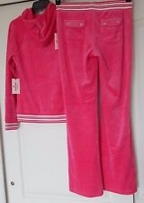 NWT JUICY COUTURE VELOUR TRACKSUIT HOODIE & BOOTCUT PANTS MAGENTA LUREX ALL SIZE