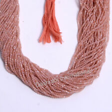 "Natural Peach Moonstone Gemstone Beads Rondelle Faceted Cut Full 13"" Strand"