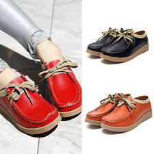 Women Ladies Platform Wedge Loafers Moccasins Flats Fashion Lace UP Shoes Size