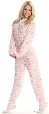 Pink Stripes & Blue Elephants Unisex Polar Fleece Adult Sized Footed Pajamas