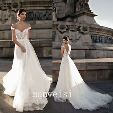 White/Ivory Wedding Dress Off-the-shoulder Open Back Long Train Bridal Gowns