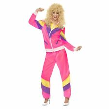 Adult Ladies 1980s Retro Pink Shell Suit Tracksuit Fancy Dress Gangster Costume