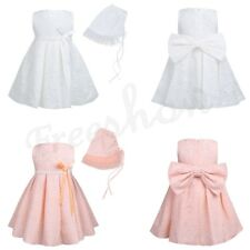 Infant Baby Girls Lace Bow Dress Party Wedding Princess Pageant Tutu With Bonnet
