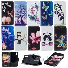 For Apple iPhone Stand cover protective skin pu leather cute patterns phone case