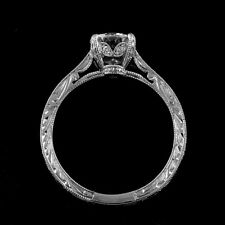 Hand Engraved Antique Vintage Style Diamonds 14k Gold Engagement Ring Setting