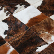 Tricolor Patchwork CowHide Rug Cow Skin Leather Cow Hide Area Rug Hair on Hide