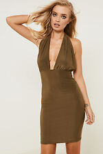 Brand Attic Halter Neck Slinky Dress with Plunging Neckline and Bodycon