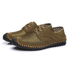 Mens' Summer Leather Men Flats Outdoor Sports Sandals Mesh Breathable Chic Shoes