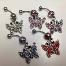 316L Surgical Steel Gem Belly Ring with CZ Gem Paved Butterfly Dangle