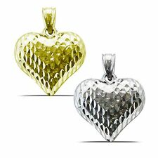 Dazzling Diamond Cut Puffy Heart Pendnat in 14K Yellow or White Gold