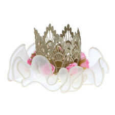 Baby Girls Flower Lace Elastic Crown Headband Hat Birthday Hairband Photo Prop