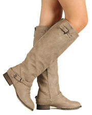 Breckelle Outlaw-11 New Women Leatherette Buckle Riding Knee High Beige Boot