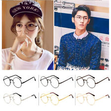 Retro Stylish Round Metal Frame Clear Lens Glasses Big Oversized Nerd Spectacles