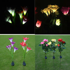Solar Power Lily Rose Flower Garden Stake Landscape Lamp Outdoor Yard LED Light