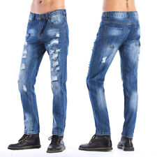 Male's Retro Casual Cotton Jeans pants Washed Ripped Broken Hole Denim trousers