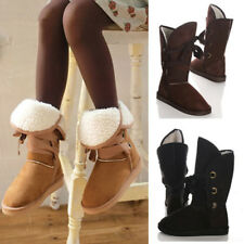 Women Snow Boots Mid Calf  Flat Heels Shoes Ankle Boots Winter Warm Snowboots