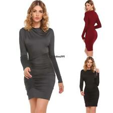 Women Bat-wing Sleeve Solid Cowl Neck Ruched Cocktail Asymmetrical OO55