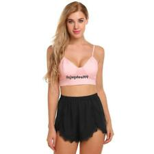Women Cami Set Pajamas Cropped Cami Top and Chiffon Shorts Lounge OO55