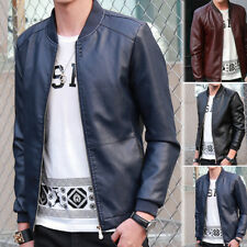 Mens PU Leather Jackets Slim fit Biker Motorcycle Jacket Coat Outerwear Overcoat