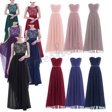 Women's Chiffon Long Evening Bridesmaid Formal Party Cocktail Prom Gown Dresses