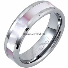 Womens Ladies Pink Shell  Inlay Tungsten Carbide Promise Wedding Ring Band Gift