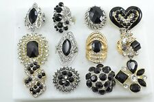 12 PC WHOLESALE Lot Black CHIC COCKTAIL COSTUME Fashion Jewelry RINGS#B2