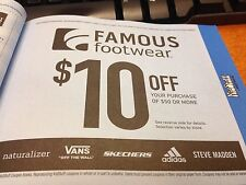 Famous Footwear $10 Off $50 or More/Valid 9/1/2017 - 12/31/2018