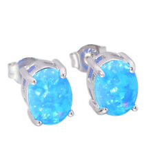 Blue White Opal 925 Sterling Silver Women Jewelry Gems Stud Earrings SE013-14