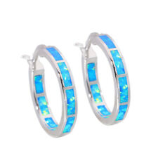 Blue White Fire Opal 925 Sterling Silver Women Jewelry Hoop Earrings SE010-11