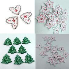 25P 2 Holes Crafts Christmas Tree Heart Star Wooden Buttons Sewing Embellishment