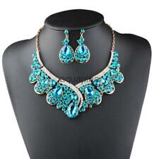 Stylish Glitter Rhinestone Necklace Set Women Lady Wedding Earrings Jewelry